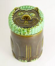 VINTAGE Painted Ceramic Lion Cookie Counter Jar  Brown & Green Glaze Paint 8.75""