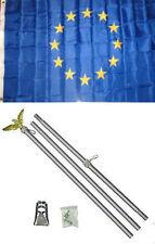 3x5 European Union Flag Aluminum Pole Kit Set 3'x5'
