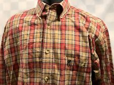 BROWNING Outdoor Brand Plaid Button Front Shirt Men's Size M Tan Red