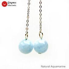 for Women Fine Jewelry 2'' ear729 Trendy 12mm Round Blue Aquamarine Hook Earring