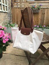 LONGCHAMP Le Pliage Ivory Tote Bag, Medium, Long Handle, Gold Hardware
