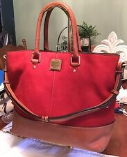 EUC Dooney Bourke Red Florentine Leather Nubuck Suede Chelsea Shopper Tote Bag