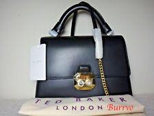 Ted Baker Verina Black Leather Crystal Pearl Lock Lady Handbag Purse