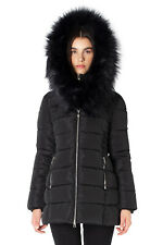 NWT Point Zero Canada Women's Zip Faux Fur Hooded Insulated Jacket Parka Black M
