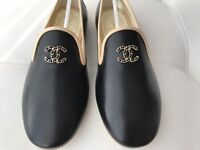 $750 CHANEL CC LOGO BLACK AND BEIGE LEATHER LOAFERS MOCCASINS SHOES 35