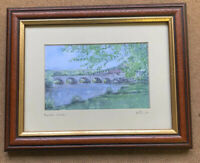 MID CENTURY BUILTH WELLS BEVEL MOUNTED FRAMED PRINT PICTURE SIGNED ON MOUNT