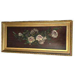 Original Signed Oil on Board Still Life Painting Flowers Stunning Gilded Frame