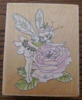 Rubber Stamp Fairy On Rose Flower Stamps Happen LARGE