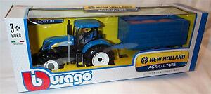 New Holland T7.315 1:32 Scale Diecast Tractor plastic Hay trailer burago