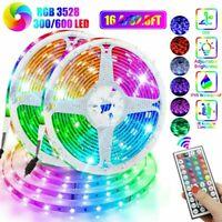 Waterproof 16FT/32FT 3528 RGB LED SMD Strip Lights Remote Room TV Party Bar 12V