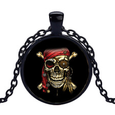 Vintage Pirate Skull Red Bandana Black Cabochon Glass Necklace chain Pendant