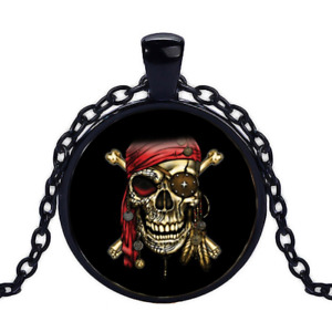 Vintage Pirate Skull Red Bandana Black Cabochon Glass Necklace chain Pendant