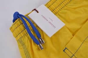Luciano Barbera NWT Swim Trunks Size Large Swimsuit In Yellow Blue Italy New