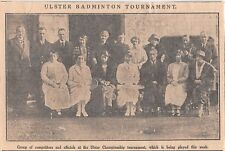 1926 Vintage Belfast Newspaper Photo Clipping Ulster Badminton Tounament