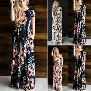 Women Summer Sleeveless Round Neck Maxi Dress Boho Floral Casual Ball Gown Dress