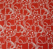 The Cat's Meow by Ink & Arrow BTY White Packed Cats on Red