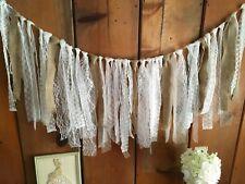 Shabby Chic Rag Tie Garland burlap rustic Wedding Baby Shower Decor per foot