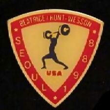Weightlifting Olympic Pin Badge ~ Seoul ~ 1988 ~ Sponsor: Beatrice Hunt Wesson