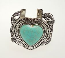 Tibetan Silver Turquoise Heart Cuff Bracelet