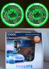 PHILIPS 5000K Hi /Lo Bulb Headlight GREEN LED Halo for Ford F100 F150 F250 F350