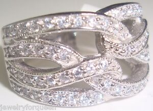 CZ Cubic Zirconia Engagement Wedding Band Ring Platinum Sterling Silver Size 8