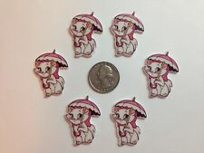 6 Pcs Lot Marie Cat Flatback Resin Cabochon Hair Bow Center Supplies.