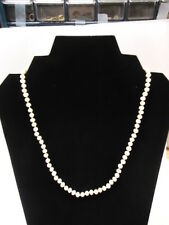 """Vintage 19"""" Strand of Individual  Knotted  Pearls with White Gold Clasp"""