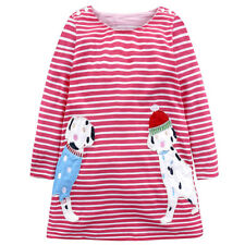 Girls Kid Children Dress Long Sleeve Princess Cotton Striped Casual Clothes 3-8Y