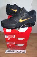 New Nike Air Max 90 Black Metallic Gold Men's Size 8 Athletic Sneaker AV7894-001
