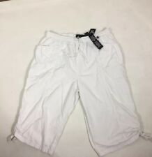 Erika Ladies Capri Pants Plus Size XL White Tie at hem With Spring Wait New