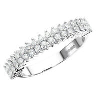 0.40 Ct Claw Set Round Brilliant Cut Diamond Half Eternity Ring 9K White Gold