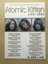 ATOMIC KITTEN - LIVE! 2003 UK TOUR FLYER (SIZE A5)
