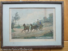 "ANTIQUE PRINT PROOF C1800S PAINTED BY H ALKEN ""TANDEM"" HORSES ENGRAVED C R STOCK"