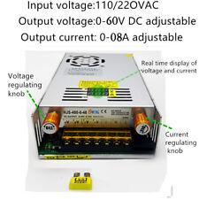 AC110/220 to DC0-60V 8A Knob Switch Adjustable Power Supply Transformer for COB