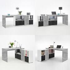 Winkelschreibtisch Schreibtisch Lexx in Beton Optik und weiß variabel montierbar