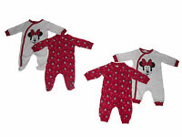 Baby Girls Sleepsuits Pyjamas Disney Minnie Mouse T/b Upto 24 Months 2 Pack