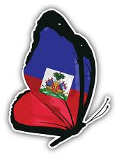 Haiti Flag Butterfly Car Bumper Sticker Decal 4'' x 5''