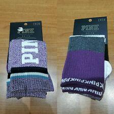 BNWT-Victoria Secret PINK X2 Purple/White/Grey Calf Length Crew Socks/(One Size)