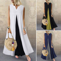 ZANZEA Womens Sleeveless V Neck Beach Dress Patchwork Loose Kaftan Maxi Dresses