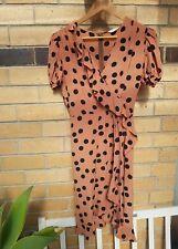 Gorman silk cap sleeves polka-dot faux wrapped dress size 10