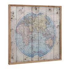 [art.work] Wandbild 60x60cm Weltkarte Europakarte Globus Leinwand Bild GERAHMT