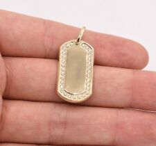 "Pendant Real 10K Yellow Gold Great Gift! 1.5"" Dog Tag Plain Cz Shiny Charm"