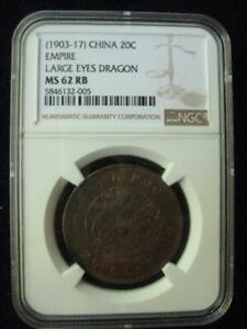 China Empire 20 Cash 1903-1917 Large Eyes Dragon NGC MS 62