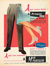 PUBLICITE ADVERTISING 114  1957  NEW BELT & TERGAL  pour  pantalon homme