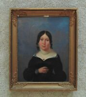1 of 2 Portrait Paintings Woman Lady Wife Oil on Canvas Antique