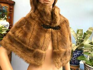 Monsoon Vintage Style Faux Mink Fur Brown Shoulder Shawl Cape Wrap Stole Size 14