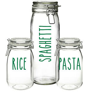 Pasta, Rice, Spaghetti - Vinyl Sticker Decal Labels for Jars Containers, Kitchen