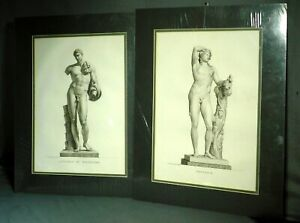 Pair Pierre Bouillon 1824 Copper Engraving Print Nude Male Bacchus Antinous BIG