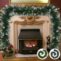 9FT/2.7M Christmas Garland Decorations Xmas Fireplace Tree Pine Cone Garland