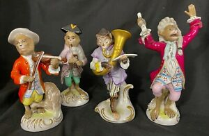 4 Pc German Monkey Band Figurines Kister Scheibe Alsbach Dresden Style Porcelain